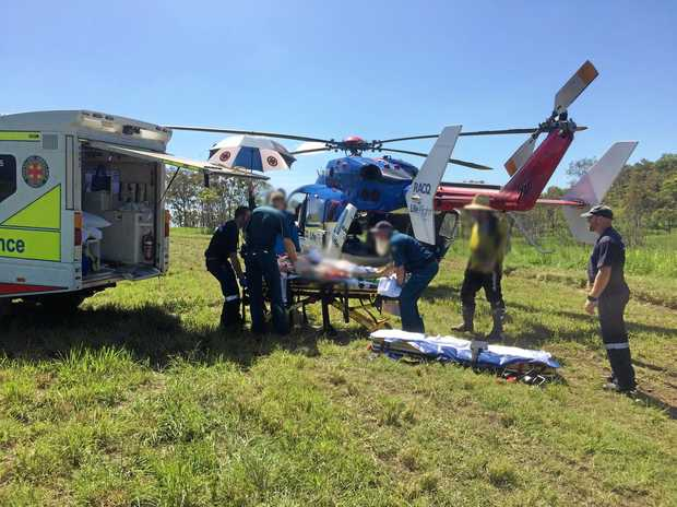 RESCUE MISSION: A man was airlifted to hospital after coming off his trail bike yesterday afternoon.
