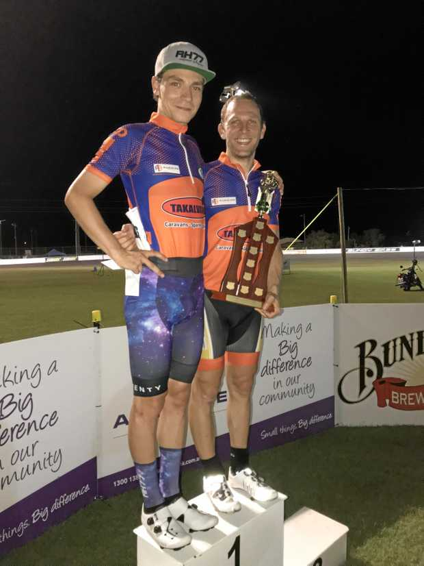 WIN: Austrian duo Stefan Matzner and Andreas Muller won the 100-lap Madison at the Auswide Bank International Cycling Spectacular.