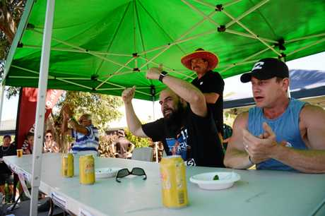 Yeppoon Chilli Festival: Raw chilli eating competition three way tie for first place, Gassan Sangar, Ben Swallow and Tony Landersi.