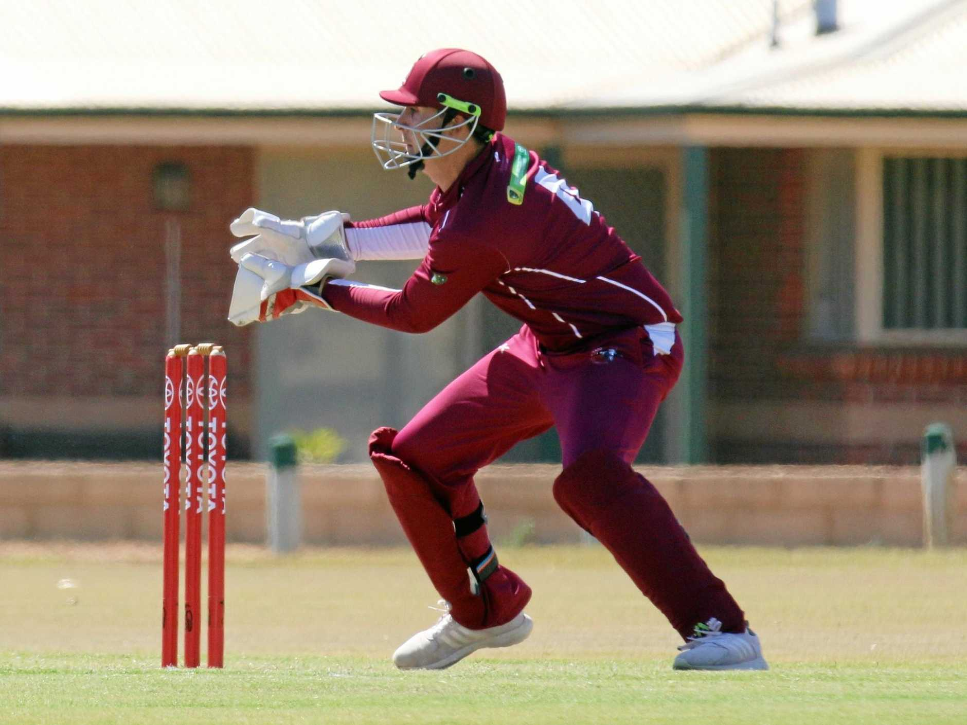Toowoomba's Chris Hall on debut as Qld Country's wicket keeper.