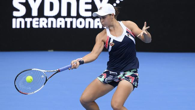Ash Barty in action at the Sydney International final against Angelique Kerber. Picture: AAP