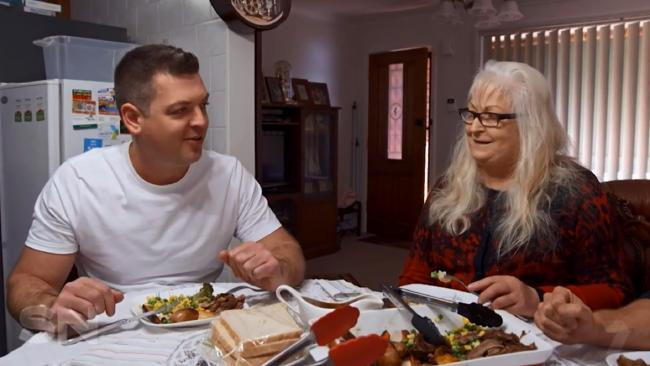 Property investor Nathan Birch and his mum at her home in Western Sydney's Mt Druitt on Seven's Sunday Night.