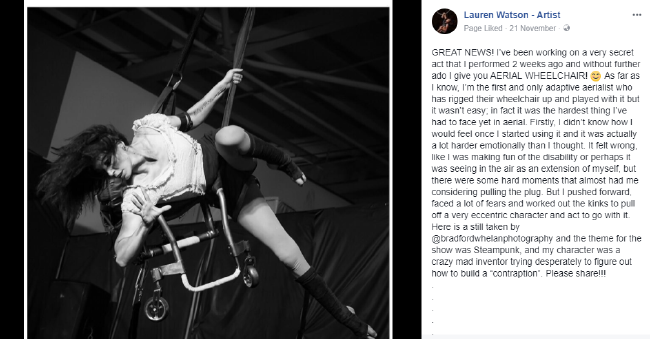 Lauren Watson is an aerial performer despite her disability. Picture: Bradford Whelan Mental health: How to talk about it with someone who needs help