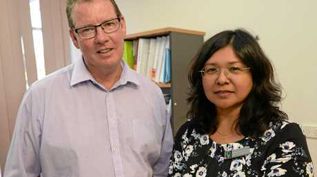 Member for Rockhampton Barry O'Rourke with Shirin Dharmalingam from the Women's Health Centre who said the extra funding would cover round two of their Ready For Work Program