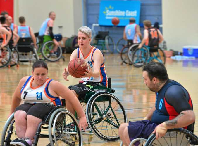 Sunshine Coast Spinners host the annual wheelchair competition which includes the 'reverse inclusion' for able-bodied players. Michael Wardman.