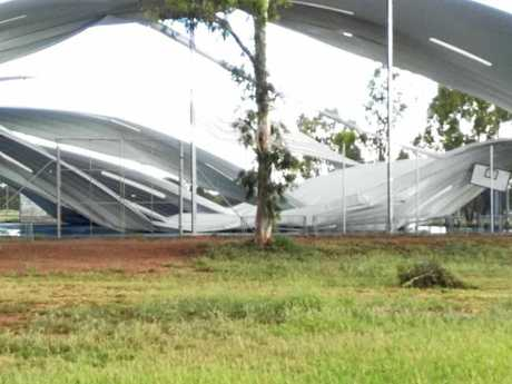 The roof over the multi-purpose courts collapsed at the Blackwater State School yesterday morning as the Central Queensland township copped the edge of a storm. This is the second time strong winds have torn the structure down since November 2015.
