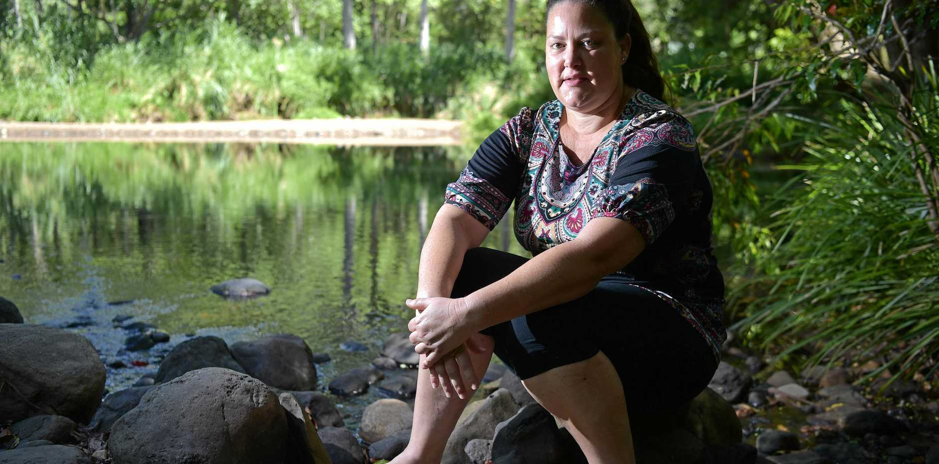 HORRIFIC PAIN: Benita Guilfoyle was stung on the foot by a freshwater stonefish while swimming in Hell Hole Creek, Mooloolah Valley, and suffered severe pain.