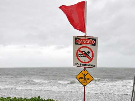There was no swimming at Yeppoon Beach on Monday as choppy surf smashed the shore