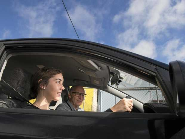 TK's Driving School master driver trainer Cyril McGregor with Brooke Hagger.