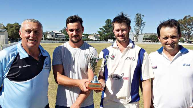 TOUGH TIE: John Hendry, captains Ben Staley (Stanthorpe) and Jason Steketee (Warwick), and Michael Bourke at the presentation of the Bourke Hendry Trophy on Sunday.