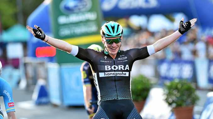 CONFIDENT: BORA-hansgrohe rider Jay McCarthy, pictured winning the Noosa Triathlon Multi Sport Festival's Australia Open Criterium, is one of the favourites for the Tour Down Under general classification title.
