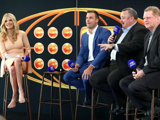 Erin Molan hosts a Footy Show panel discussion with Beau Ryan, Daryl Broham and Paul Vautin. Picture: Gregg Porteous