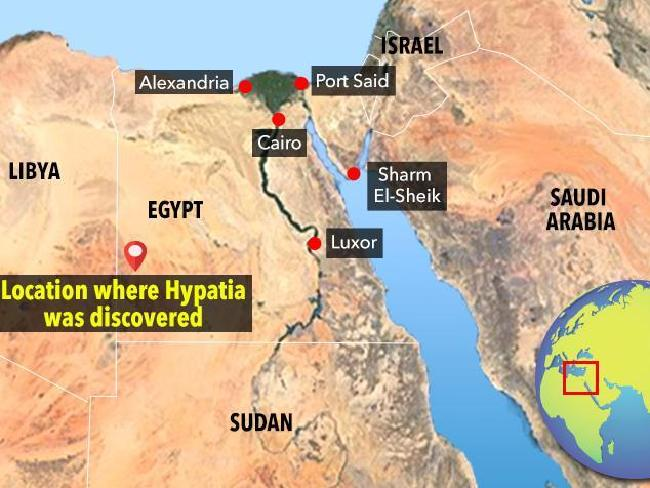 Map showing where Hypatia was discovered.