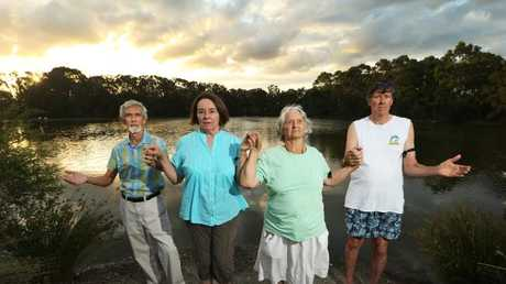Environmentalists and residents prepare to rally to save Black Swan Lake at Bundall with hands around the lake. Left to right, John Woodlock, Val Shooter, Nancy Sutherland (wildlife Qld) and John Shooter. Picture Glenn Hampson