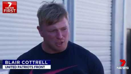 Blair Cottrell of far-right organisation the United Patriots Front on Channel 7 on Sunday