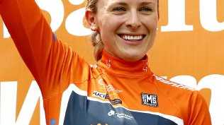 Annette Edmondson wears the Ochre jersey after the opening stage of the Women's Tour Down Under. Picture: Sarah Reed