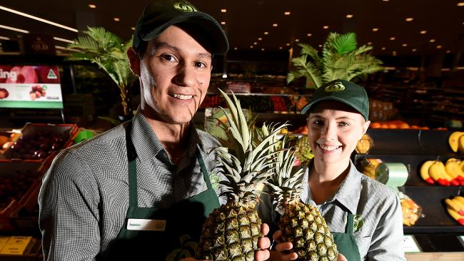 Isaac Do Rozario and Zoey Andros of Woolworths City Arcade are getting ready for the influx on pineapples.