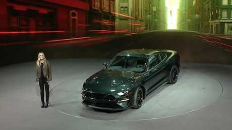 Molly McQueen unveils the 2018 Bullitt Mustang at the Detroit Auto Show. Picture: Supplied.