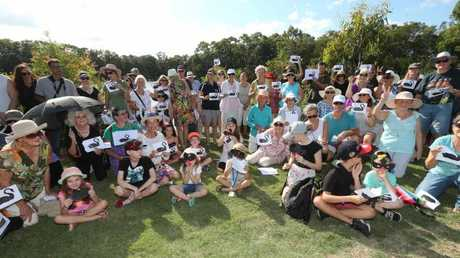 Crowd pictured during a protest against the filling of Black Swan Lake at Bundall. Picture Mike Batterham