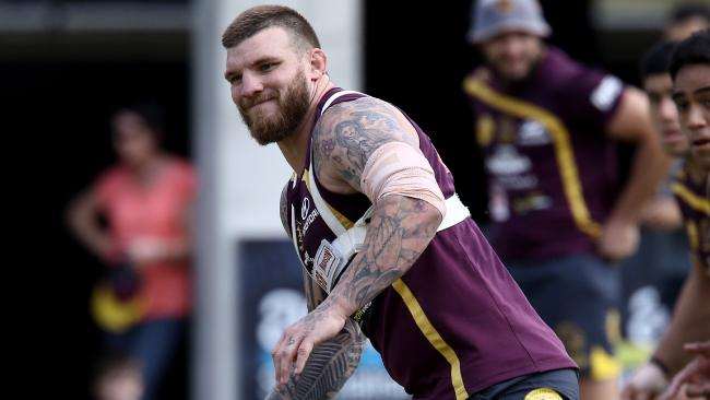 Josh McGuire returned for his first day of pre-season training with the Broncos on Monday. Photo: David Clark