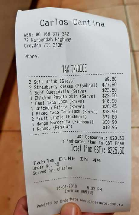 Carlos Cantina posted this unpaid bill to Facebook on Saturday.