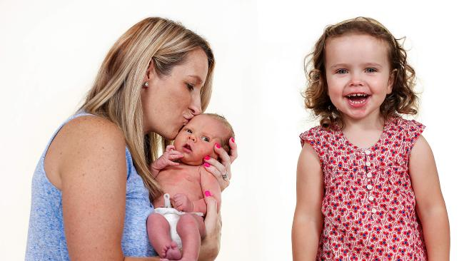 New mum Kate Hutchison, 33, with baby Isabelle and Chloe, who is almost three. Picture: Ian Currie