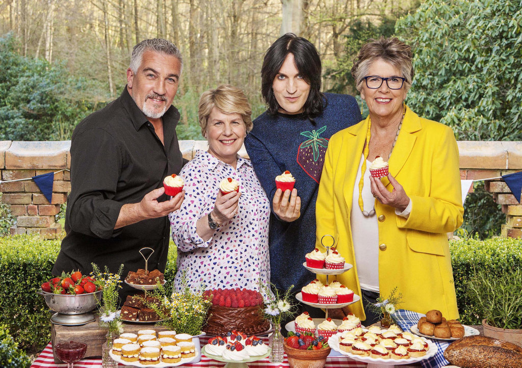 Paul Hollywood, Sandi Toksvig, Noel Fielding and Prue Leith star in season eight of The Great British Bake Off.