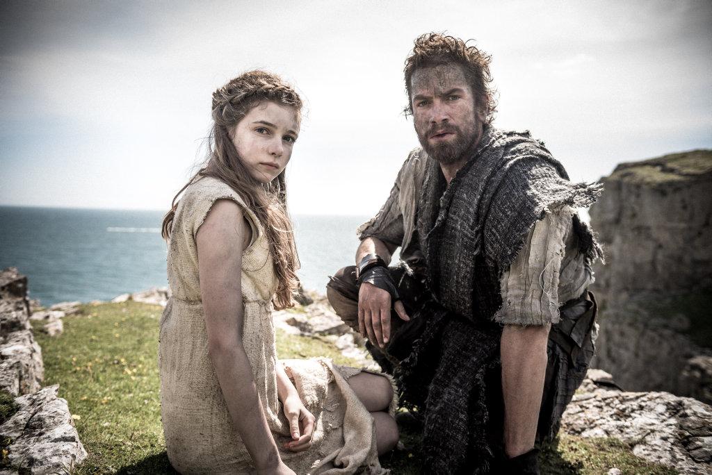 Eleanor Worthington-Cox and Nikolai Lie Kaas in a scene from the TV series Britannia.