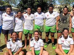 The victorious Highlanders team (back row, from left) Leepa Row Row, Amber Row Row (Blackwater), Keisha Baker (Maryborough), Rhiannon Revell-Blair (formerly of Clermont), Nea Robinson (Moranbah), Layla Fauid (Moranbah), Chantelle Dodd (Rockhampton), and Alana Elisaia (Brisbane) and (front, from left) Ana Afuie (Brisbane), Sharni Upton (Rockhampton) and Iiesha Saltner (Calamvale).