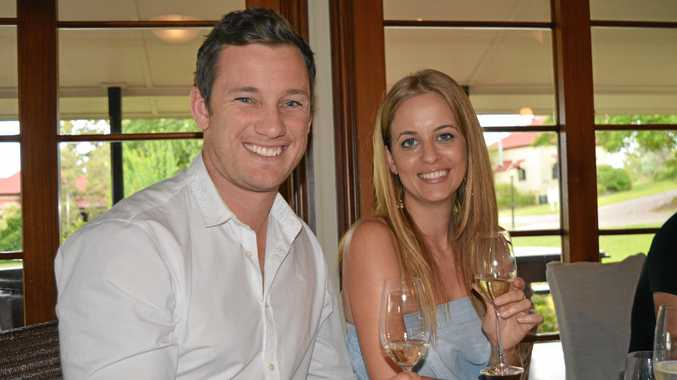 CHEERS: Anthony Davis and Martine Keep of Brisbane at a cheese and bubbles masterclass as a part of the Flavours of Summer Gourmet Festival on Saturday.