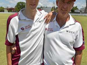 TOP FORM: Carter Bilbrough, the best Wheatvale batsman this season so far, pictured at Slade Park with his father Ross.