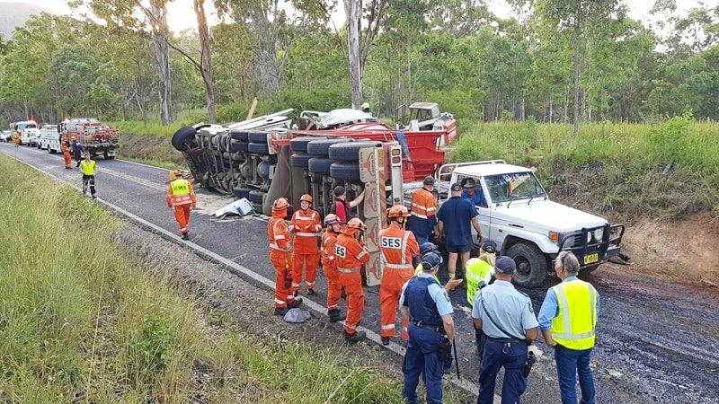 IN THE SPOTLIGHT: the scene of the double fatality two-truck collision on the Gwydir Highway on Monday.