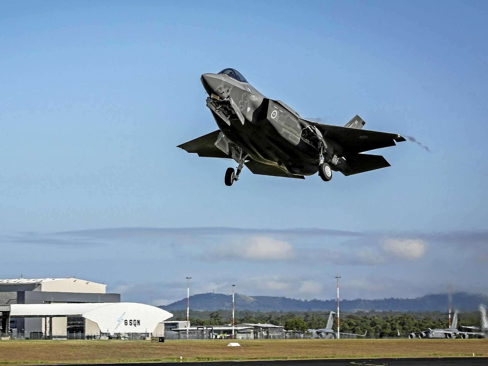 F-35 Lightning II depart RAAF Base Amberley for the Avalon Air Show.