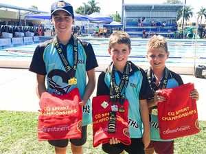 WINNERS: Caleb O'Mealley, Kai Chinner and Kayden Gibson were all age champions in their categories.