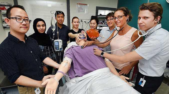 HANDS ON: New medical interns at Hervey Bay Hospital, Drs Simon Ma, Fathima Cassim, Kuan Ming Tan, Cassandra Steel, Winnie Lee, Matthew Cozier, Kendra Coufal and Tim Oksanen.