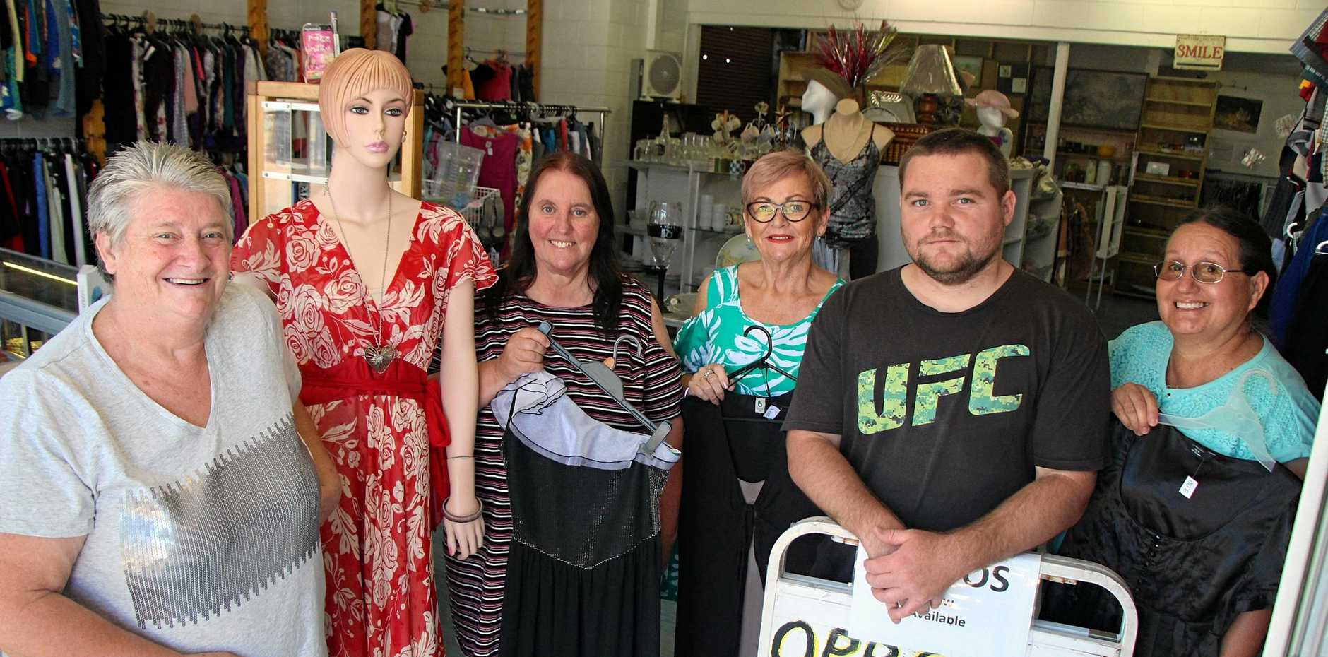 HELPERS ON HAND: Rose Cowie, Gail Patu, Julie Cox, Ashlee Mayer and Guiletta Allen are keen for colleagues at Pass It On Op Shop in Laidley.