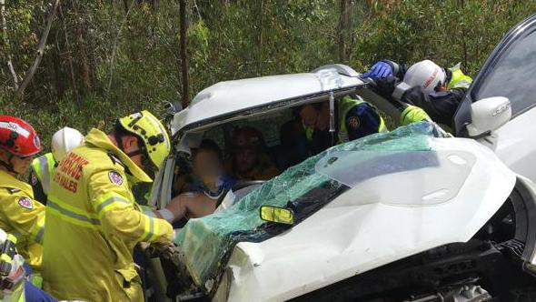 The 17-year-old was lucky to survive the horror crash and had to be cut free by emergency services.