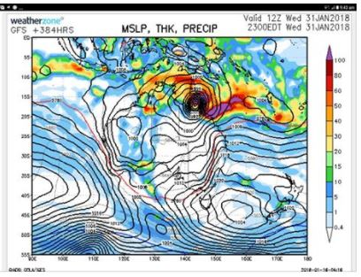 A Weather Zone model which shows cells that appear to look like a cyclone forming off the east coast was posted on Bundaberg Weather's Facebook page.
