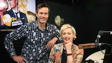 WSFM breakfast duo Brendan Jones and Amanda Keller pictured in their North Ryde studio. Picture: Toby Zerna