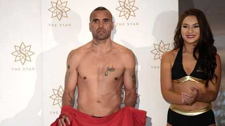 Mundine weighs in ahead of his clash with Tommy Browne. Picture: Simon Bullard