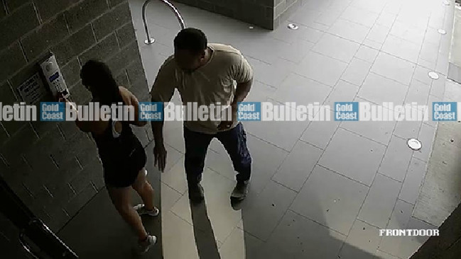 Security footage of Jesse Ratu allegedly being groped by a male at the front security door of her complex. Picture: Facebook.
