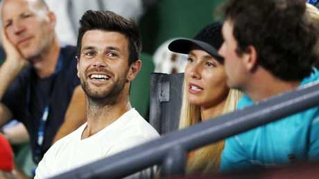 Richmond premiership skipper Trent Cotchin was in Ash Barty's corner during the match. Picture: Michael Klein