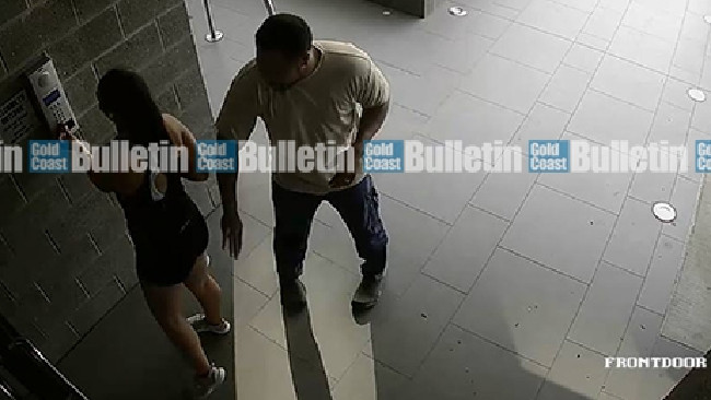 Security footage of Jesse Ratu allegedly being groped by a male at the front security door of her apartment complex. Picture: Facebook.