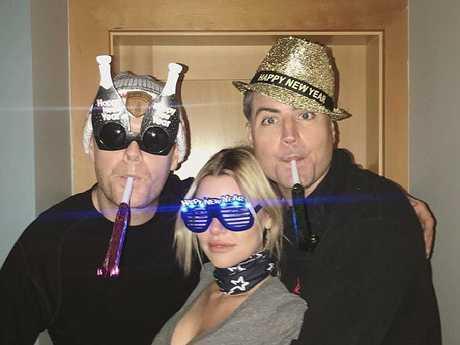 Sophie Monk with Stu Laundy and Oscar Gordon. picture: Instagram/Oscar Gordon