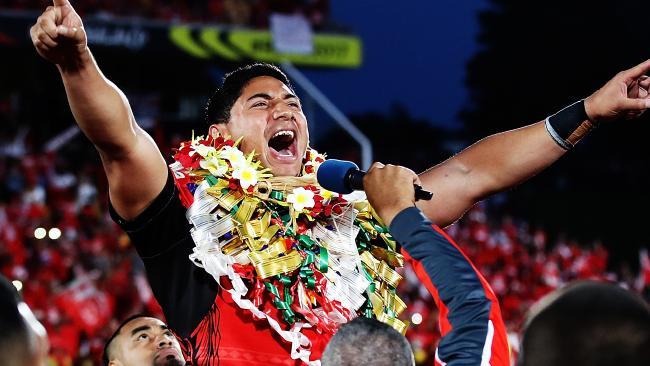 Jason Taumalolo of Tonga leads the Sipi Tau during the World Cup.