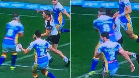 The shoulder charge by Jarrod Wallace on Warriors centre Blake Ayshford that almost cost him an Origin debut.