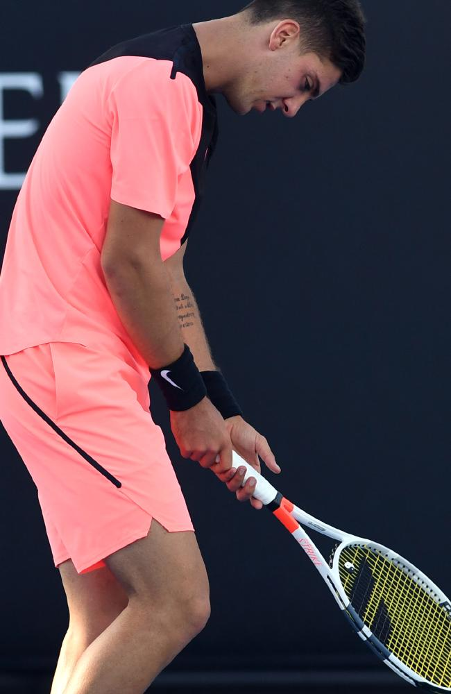 Thanasi Kokkinakis struggles with is out-of-sorts body. Picture: AAP