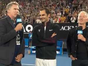 Anchorman Will Ferrell grills Federer at Australian Open