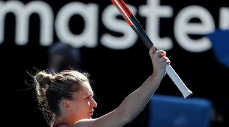Simona Halep acknowledges a victory that didn't come easy. Picture: AP