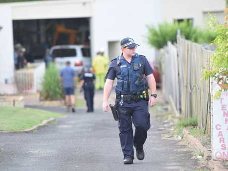 Police investigate an incident in a shed on Avoca St West Bundaberg.